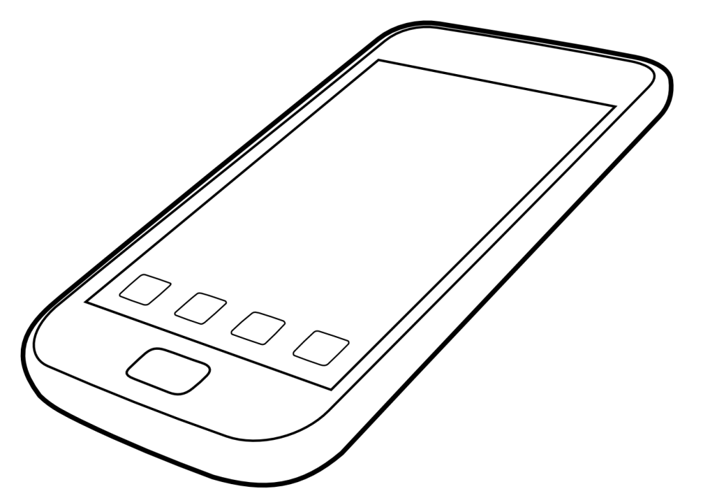 Cell phone color page. Clipart telephone colouring