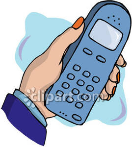 Cellphone clipart hand holding. A cell phone royalty