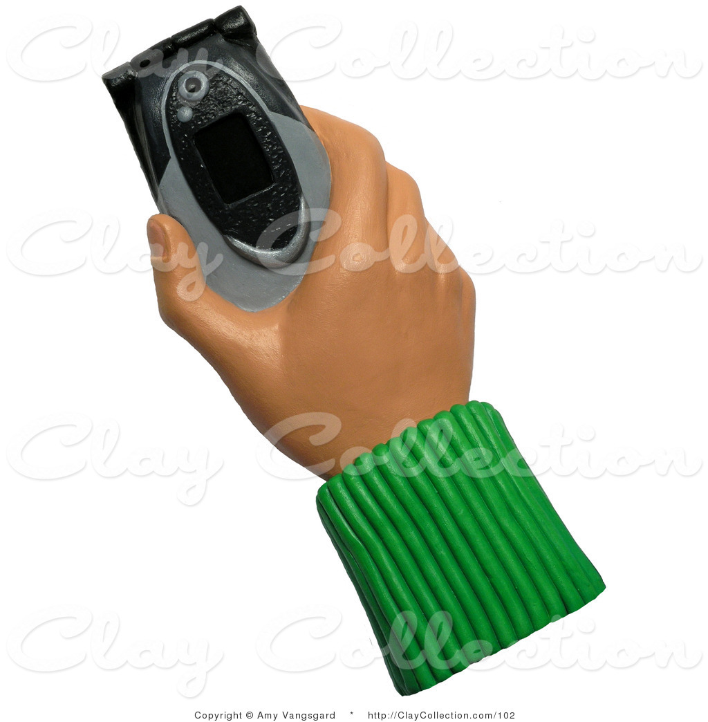 Clay illustration of a. Cellphone clipart hand holding