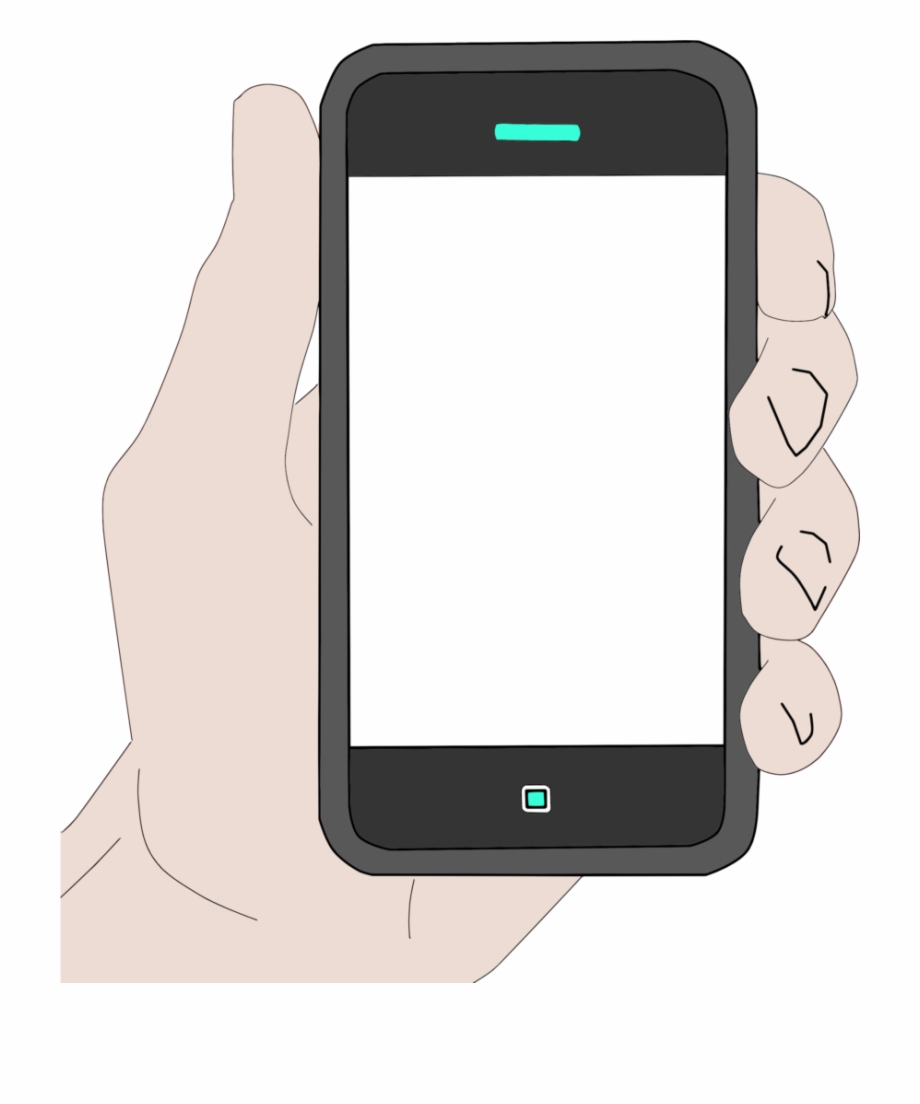 Phone clipart mobile phone. Hand holding cell