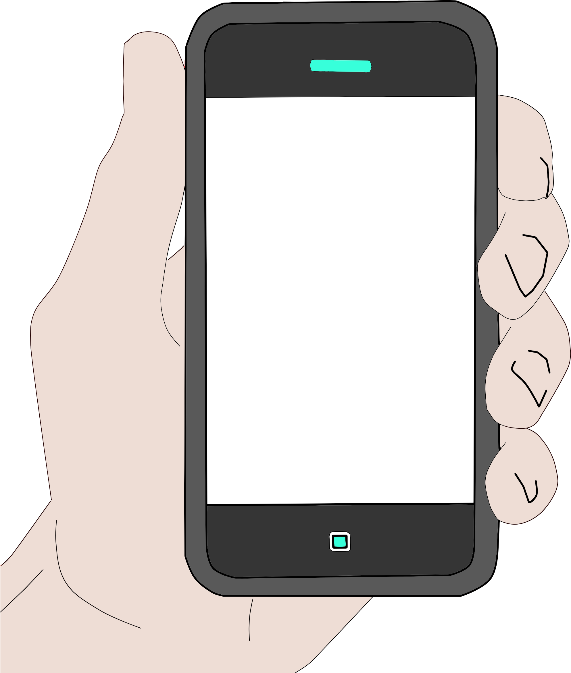 Phone clipart gadget. Hand holding cell big