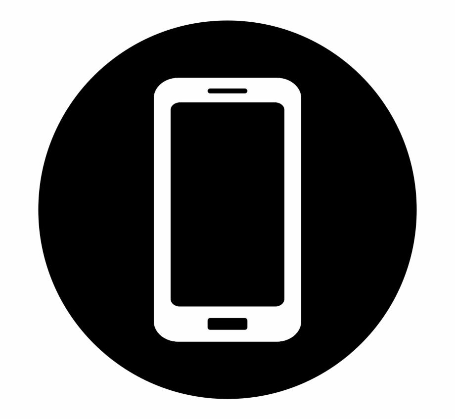 Mobile white on black. Cellphone clipart icon