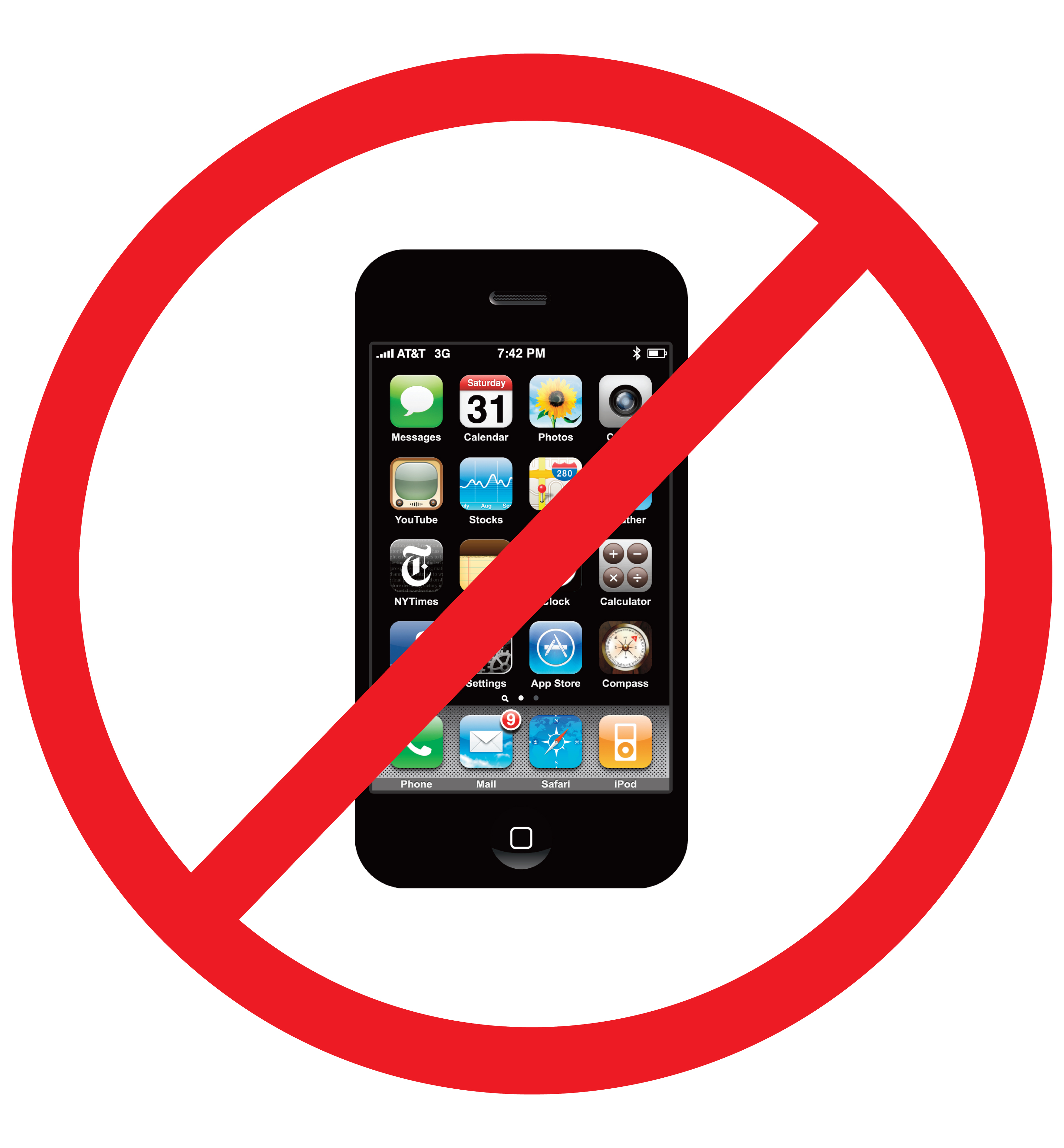 Cellphone clipart mobile sign. Printable no cell phone