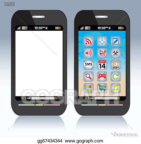 Cellphone clipart phone screen. Vector stock cell clip