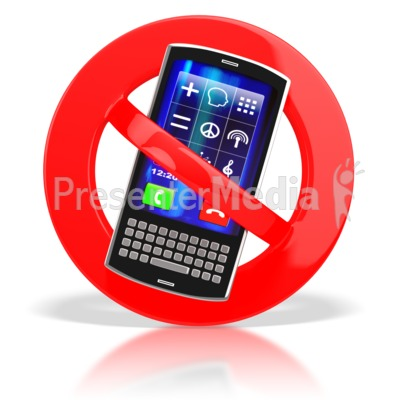 No cell phones presentation. Cellphone clipart solid thing