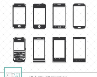 Cellphone clipart vector. Smartphone etsy android phone