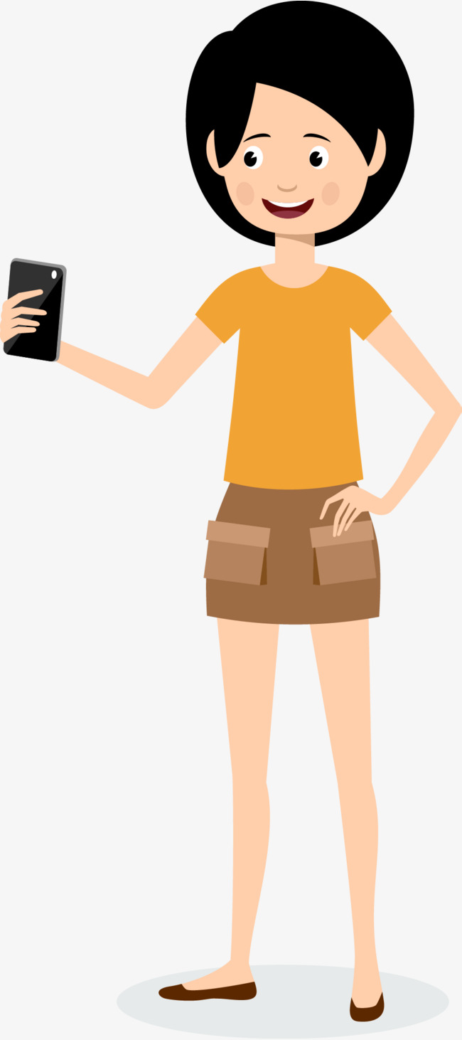 Cellphone clipart woman. A vector with cell