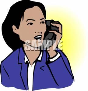 An asian talking on. Cellphone clipart woman