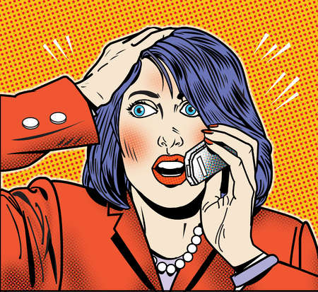 Cellphone clipart woman. Stock illustration surprised talking