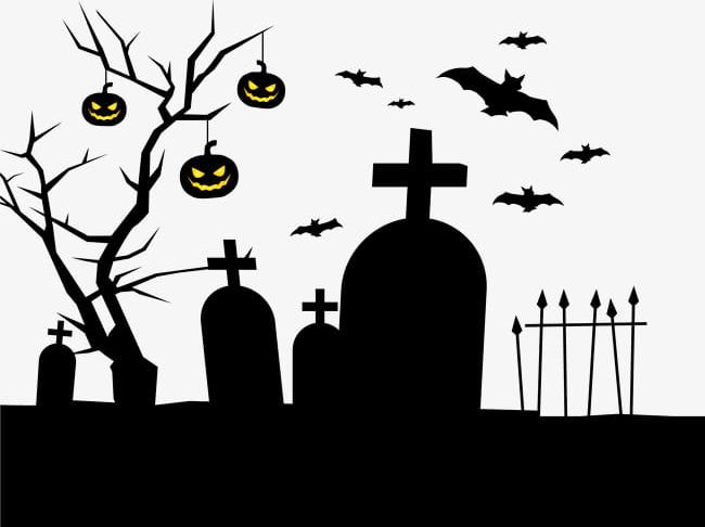 Black horror png . Cemetery clipart
