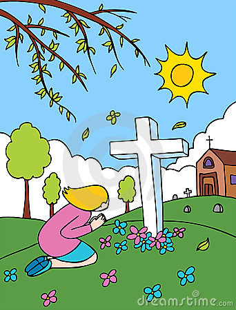 Cemetery clipart. Girl praying at the
