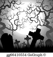 Vector illustration negative stock. Cemetery clipart border