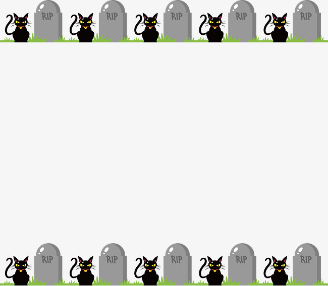Cemetery clipart border. Graveyard black cat vector