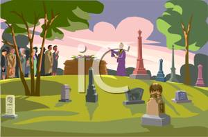 People at a funeral. Cemetery clipart burial