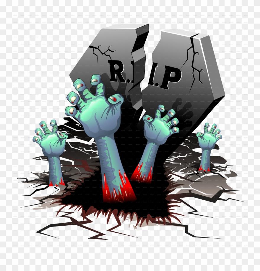 Cemetery clipart cartoon. Creepy hands on by