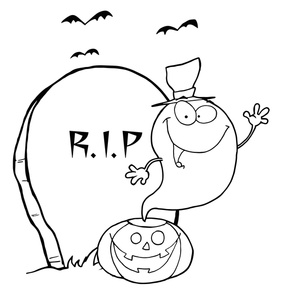Free halloween coloring page. Cemetery clipart cartoon