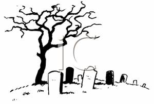 Of a tree standing. Cemetery clipart cartoon