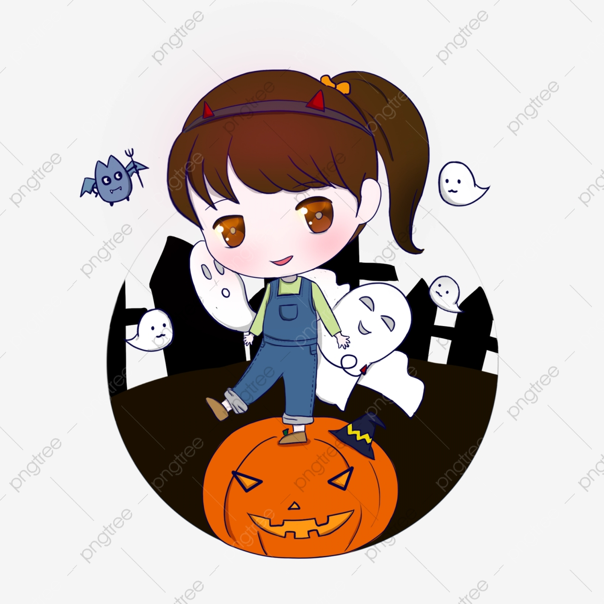 Halloween little girl q. Cemetery clipart cute
