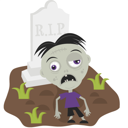 Zombie in svg cutting. Cemetery clipart cute