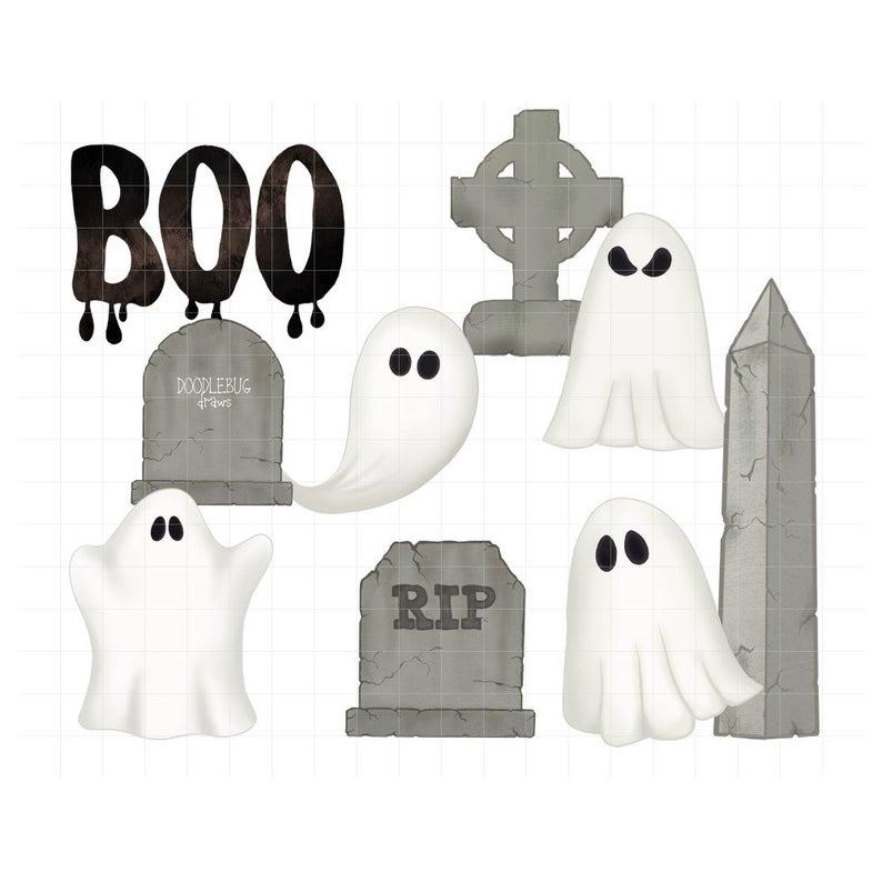 Cemetery clipart cute. Graveyard ghosts halloween digital