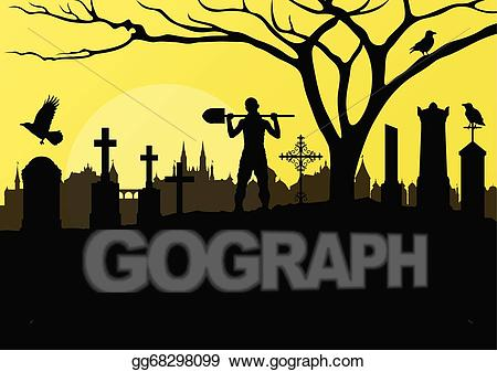 Cemetery clipart graveyard. Vector art halloween spooky