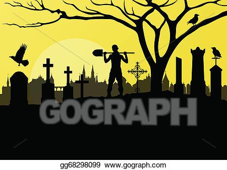 Vector art halloween spooky. Cemetery clipart graveyard