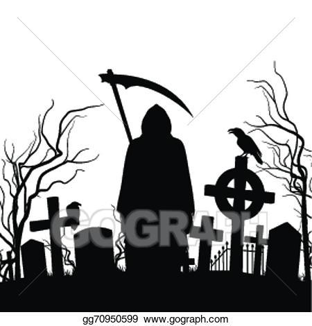 Cemetery clipart graveyard. Vector illustration eps gg