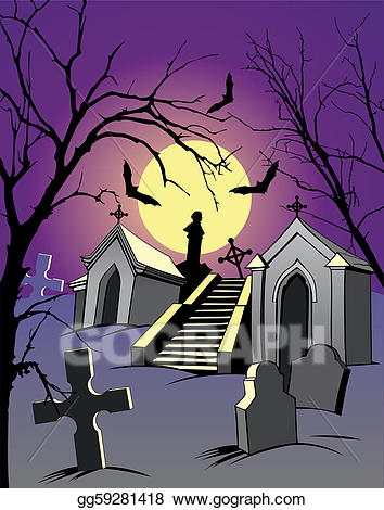 Graveyard clipart night. Vector illustration eps gg