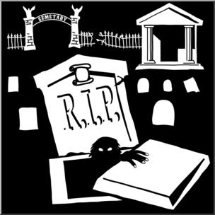 Cemetery clipart halloween. Clip art silhouettes b