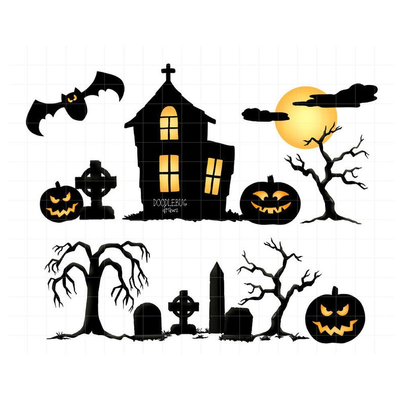 Haunted house and digital. Cemetery clipart halloween