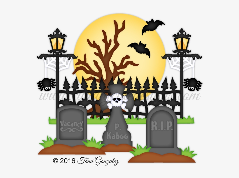 Black and white library. Cemetery clipart halloween