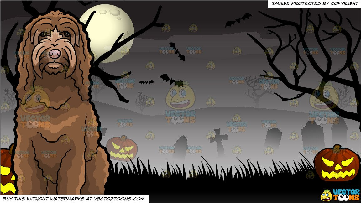 A curly brown dog. Cemetery clipart halloween graveyard