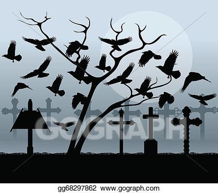 Cemetery clipart halloween graveyard. Vector art spooky vintage