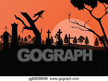 Gravestone clipart spooky graveyard. Vector art halloween cemetery