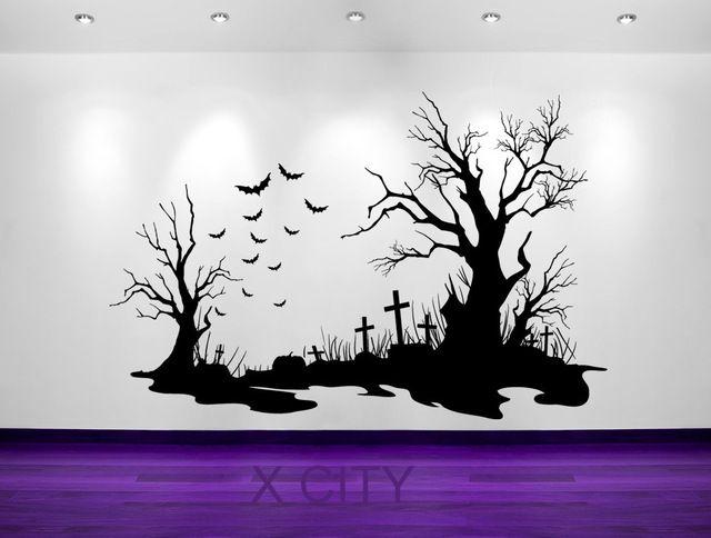 Cemetery clipart landscape. Spooky halloween scene bats