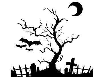 Tree clip art etsy. Cemetery clipart scary