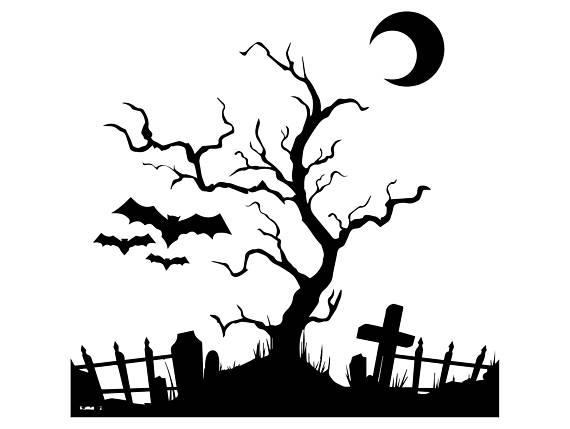 Halloween bat moon tree. Grave clipart scary