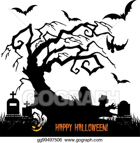 Cemetery clipart scary. Vector illustration holiday halloween
