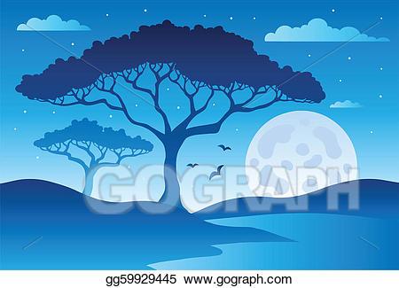 Cemetery clipart scenery. Vector illustration savannah with