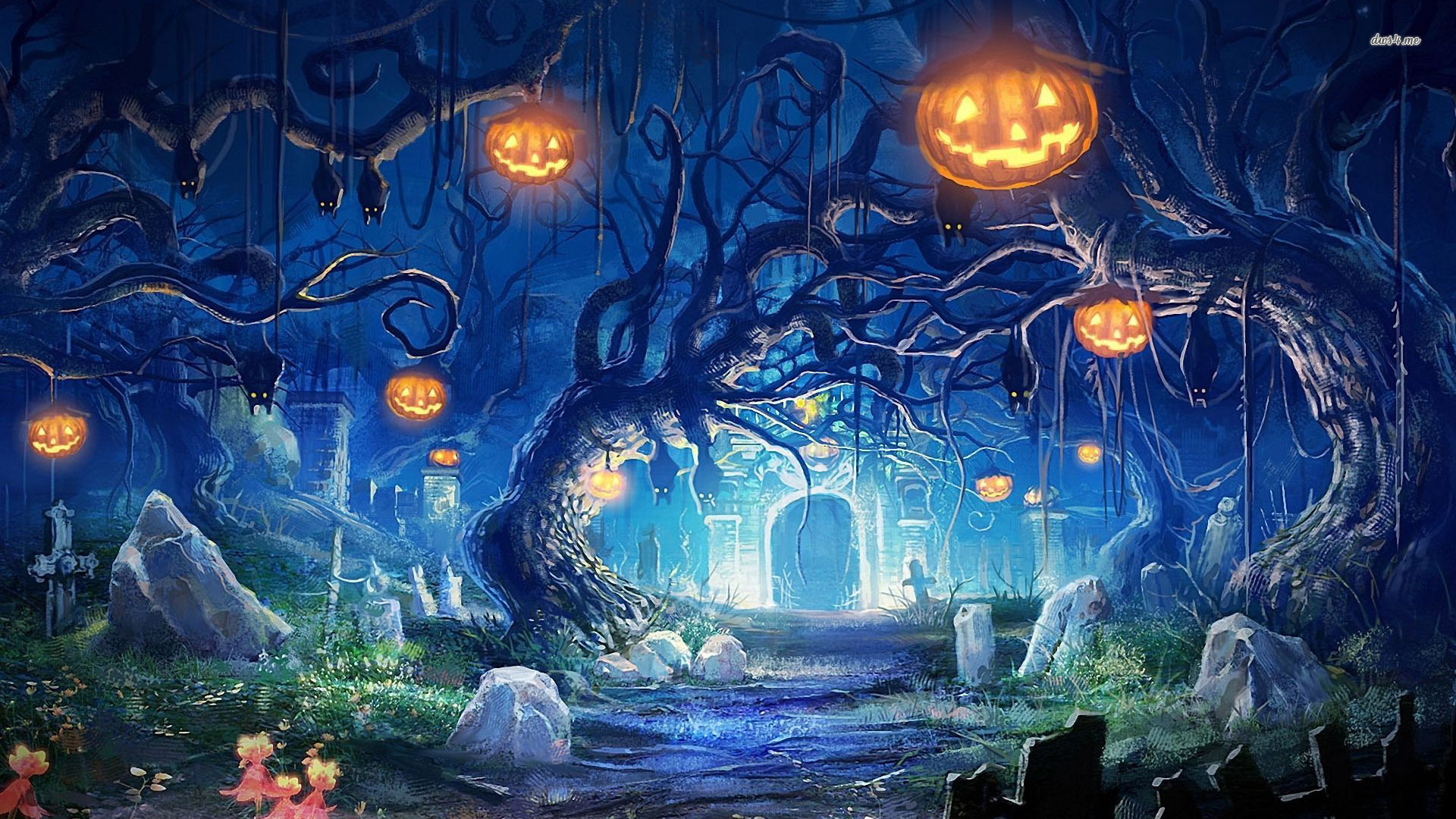 Cemetery clipart scenery. Halloween night in the
