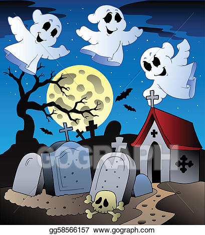 Eps vector halloween with. Cemetery clipart scenery