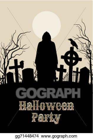 Vector illustration halloween party. Gravestone clipart spooky graveyard