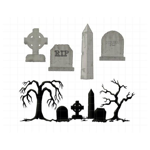Halloween digital planner stickers. Gravestone clipart spooky graveyard