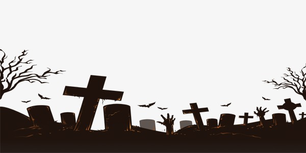 Halloween black material png. Cemetery clipart transparent