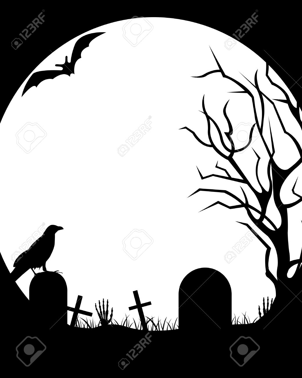 Burial pencil and in. Cemetery clipart vector