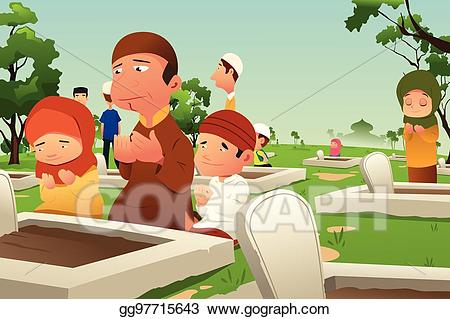 Cemetery clipart vector. Stock muslims visiting and