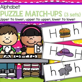 Puzzle match ups sets. Centers clipart alphabet