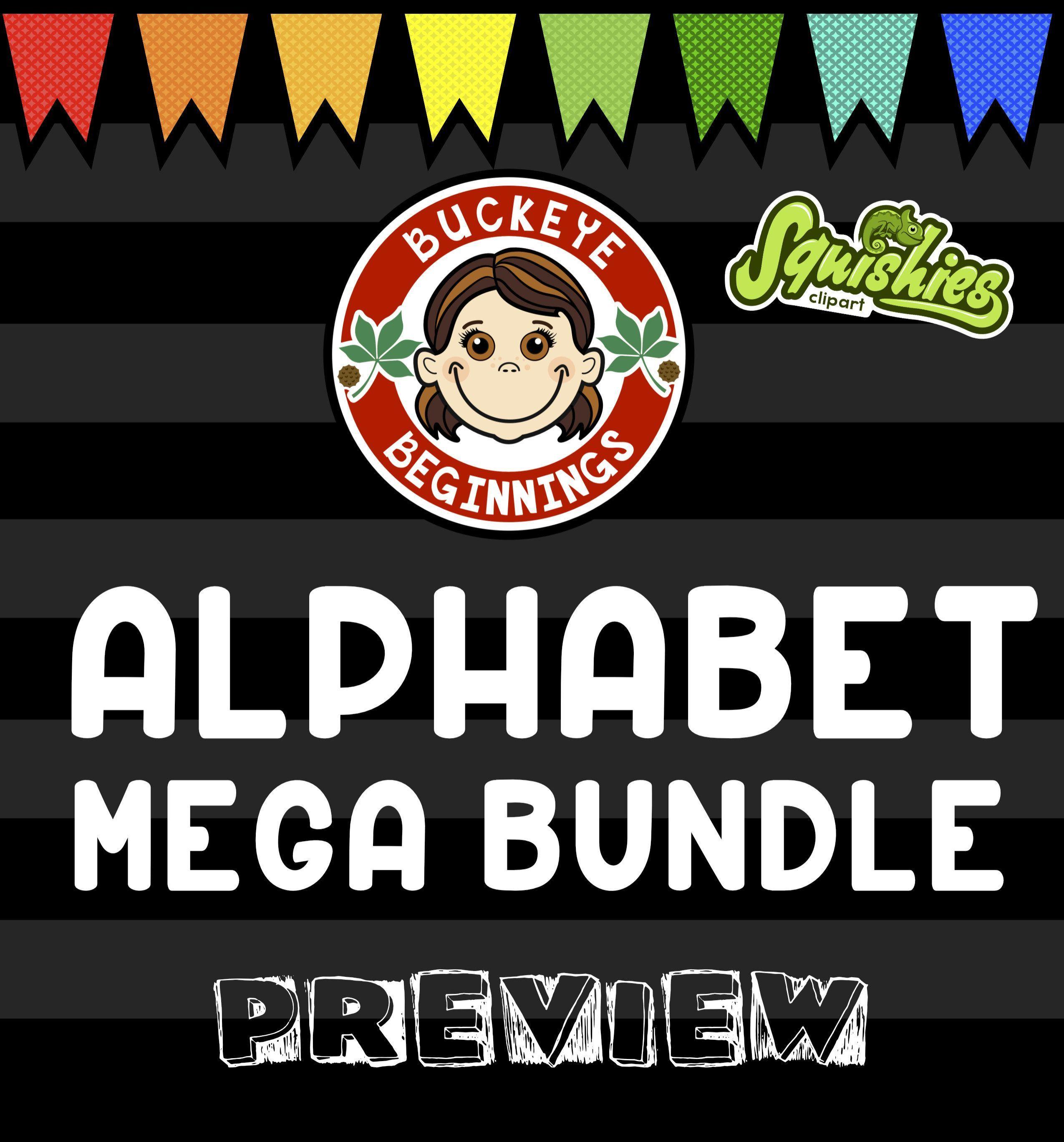 Centers clipart alphabet. Clip art mega bundle