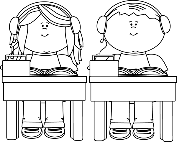 School kids listening to. Centers clipart black and white