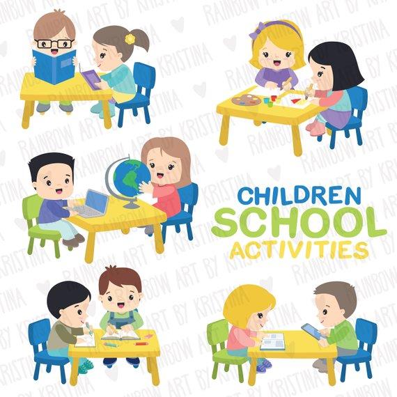 Children activities clip art. Study clipart in school